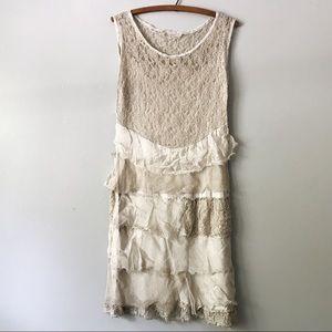Italian Silk Layered Ruffle Stretch Lace Dress